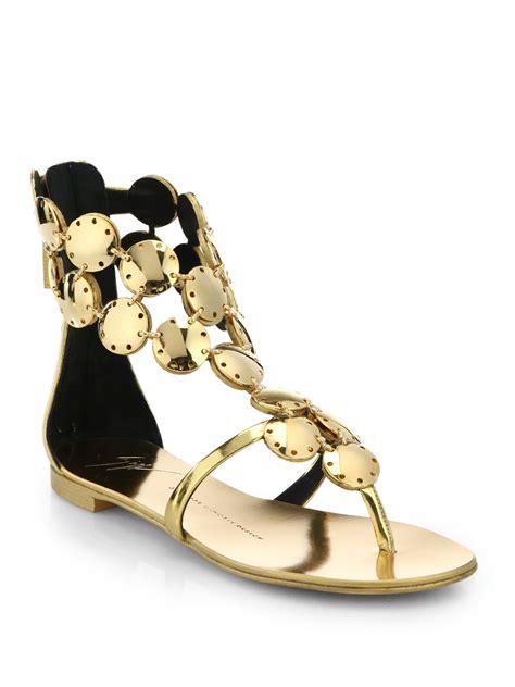 giuseppe zanotti gold sandals lyst giuseppe zanotti metal paillette metallic leather