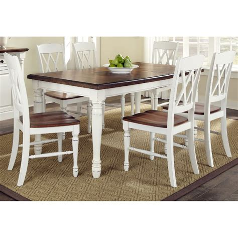 white and brown kitchen table set monarch white oak 7 dining set