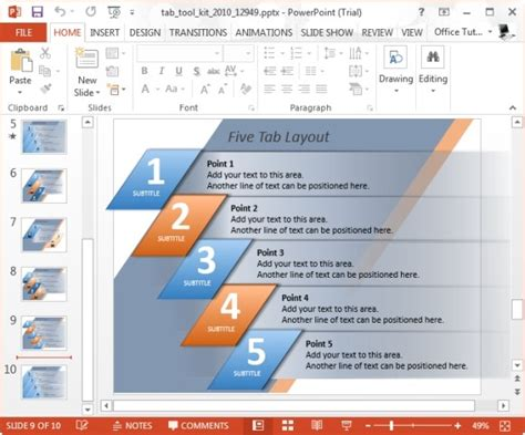 Elegantly Display Bullet Points With Powerpoint Tab Toolkit Template Powerpoint Tabs Template