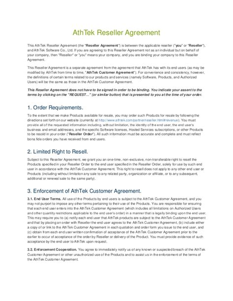 Athtek Reseller Agreement Template Reseller Agreement Template Free