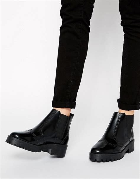 ego boots asos asos alter ego leather chelsea ankle boots