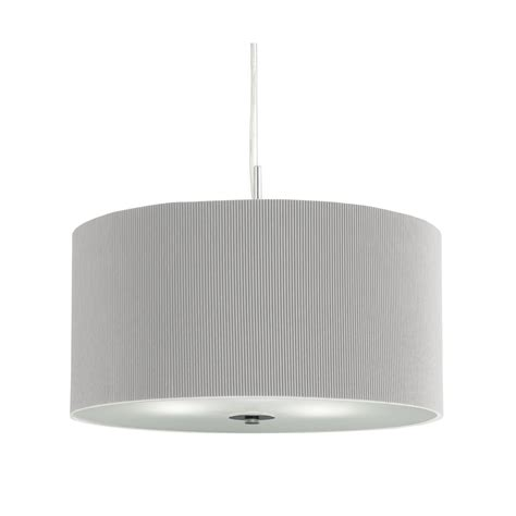 Drum Pleated Pendant 3 Light Silver Grey With Glass Pendant Light With Diffuser