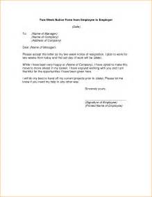 9 2 week notice letter sample basic job appication letter