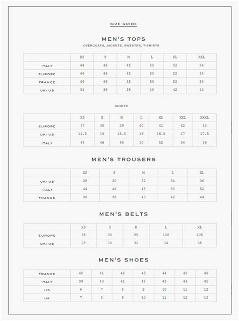 miracle  karl lagerfeld size chart chart information