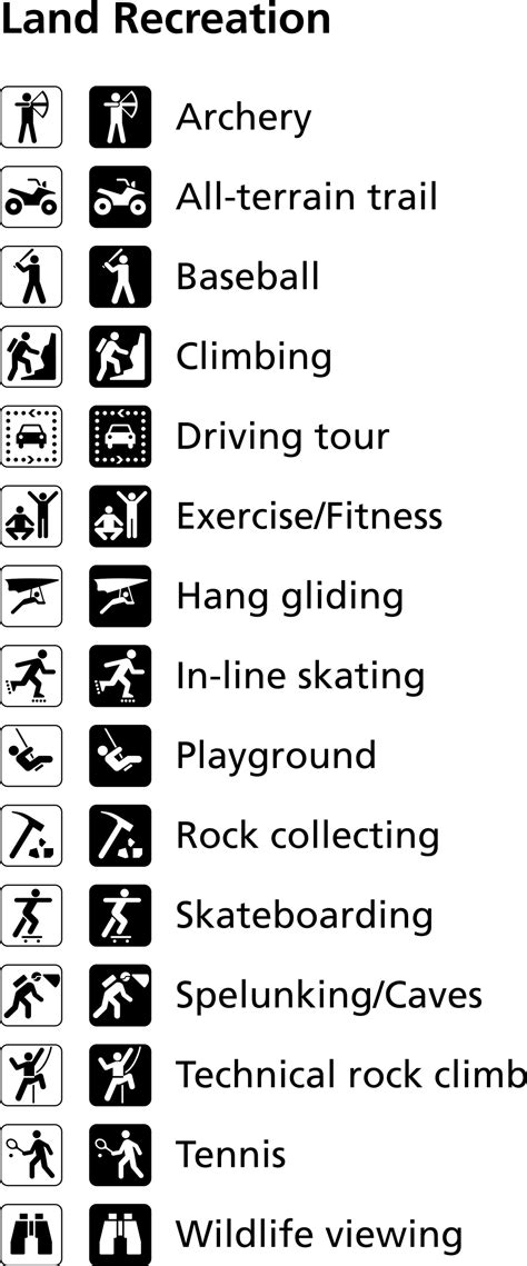the color of a recreation area sign is land recreation symbols icons png free png and icons