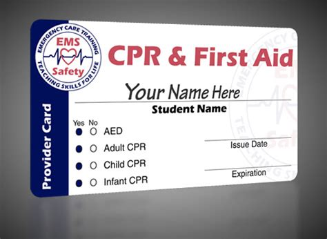 bls instructor card template cpr aed and aid certification programs ems safety