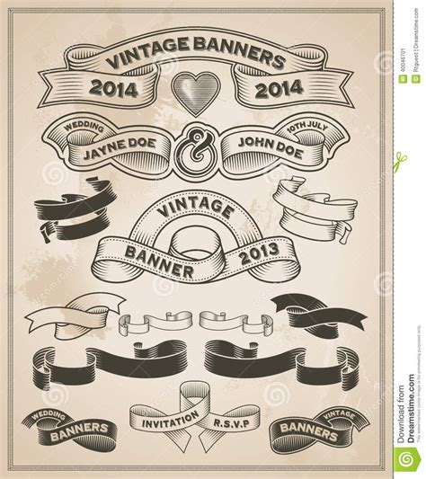 design banner retro vintage retro scroll and banner set stock vector image