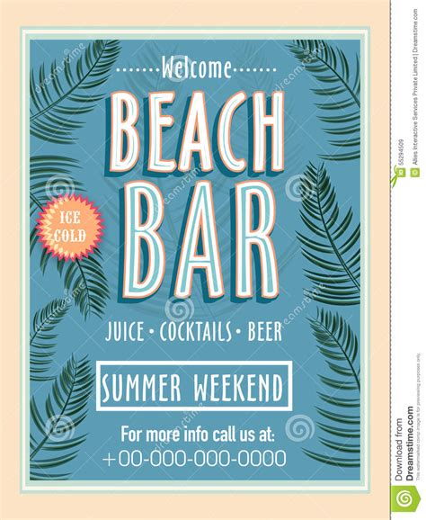 Template Banner Or Flyer Design For Beach Bar Stock Illustration Image 55294509 Flyer Banner Templates
