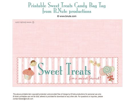 treat label template bnute productions free printable sweet treats bag label