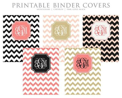 printable binder covers monogram printable binder inserts set of 5 personalized
