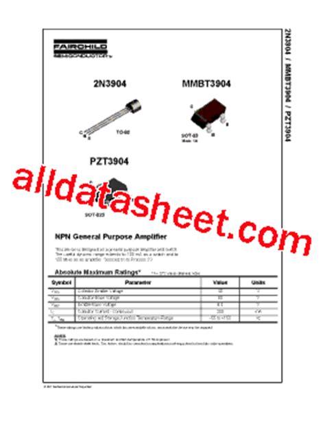 datasheet of transistor 2n3904 2n3904 datasheet pdf fairchild semiconductor