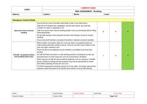 plumbing risk assessment example to download