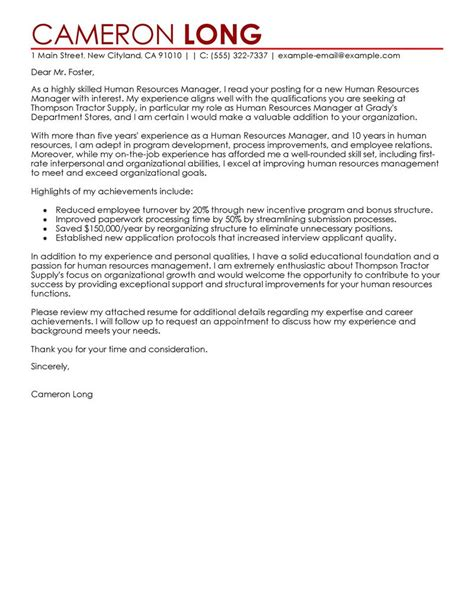Cover Letter Sle For Hr Position by Best Human Resources Manager Cover Letter Exles