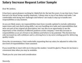 salary increment request letter format writing