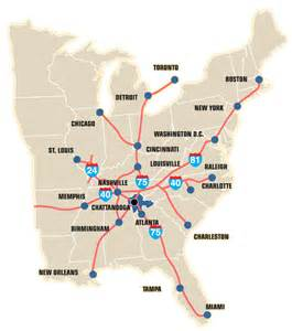 eastern u s map showing interstates to major cities