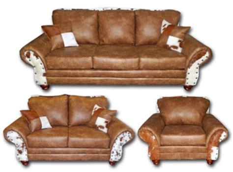 cow hide sofa von furniture chestnut rustic living room set with