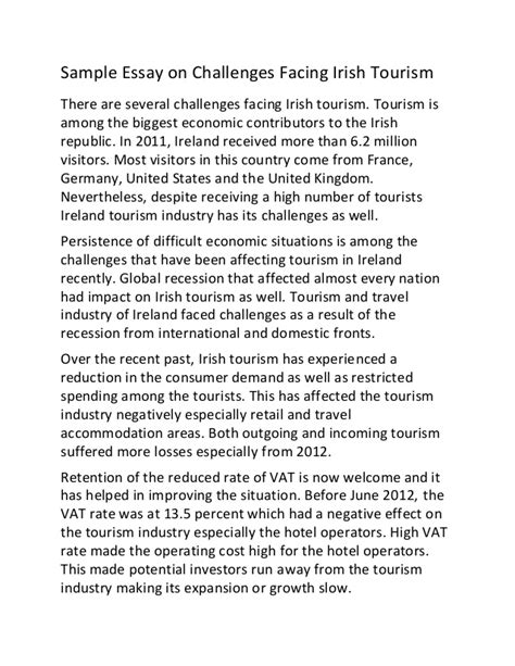 Challenge Essay Exle by Sle Essay On Challenges Facing Tourism