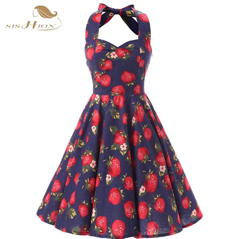 Summer Retro Dress 42553 sishion floral print summer dresses 60s 50s vintage halter casual vestido