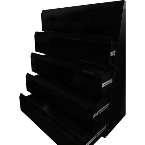 tallboy chest of 6 drawers in high gloss black buy black