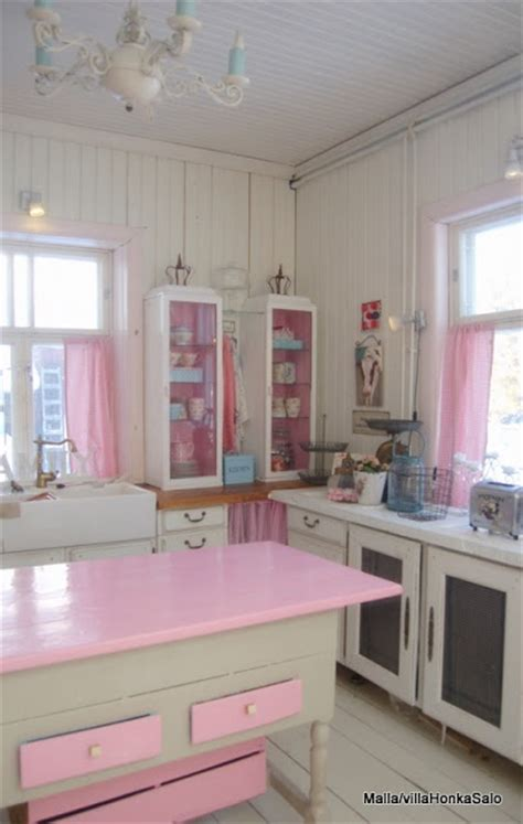 bright white and pink kitchen charming cottage decor
