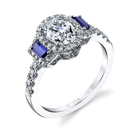 engagement ring with blue sapphire accents