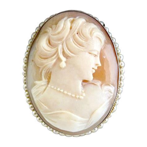 italian cameo brooch pendant seed pearls 800 silver