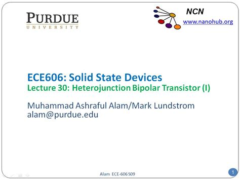 bipolar transistor lecture nanohub org courses ece 606 solid state devices professors muhammad a alam and