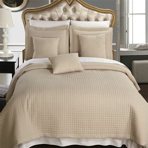 California King Coverlet coverlet set king cal king 6pcs beige checkered quilted wrinkle free