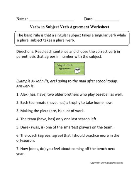 printable quiz for subject verb agreement worksheets subject and verb agreement worksheets
