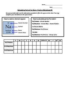 Number Of Atoms In A Formula Worksheet by Calculating Parts Of An Atom Practice Worksheet 1 By