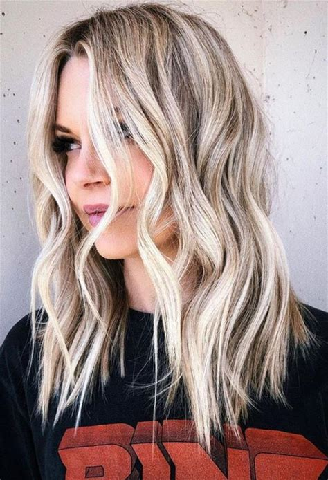 flirty white wavy hairstyle  long hair  medium