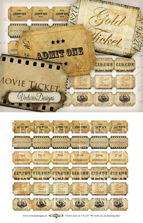 printable vintage tickets printable vintage ticket strips by vectoriadesigns on