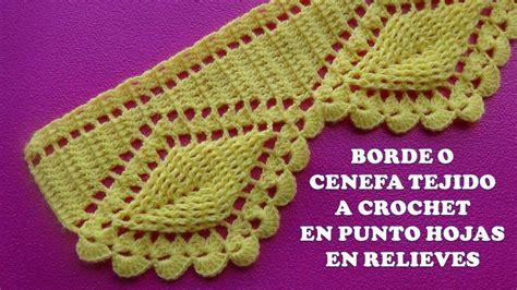 cenefas en crochet borde o cenefa hojas en relieves tejido a crochet para