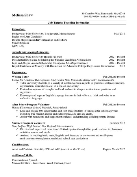 Resume For Minors by Resume Sles For College Students And Recent Grads