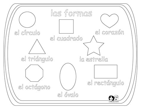 Shapes Coloring Pages In Spanish | spanish for kids shapes spanish worksheets for children