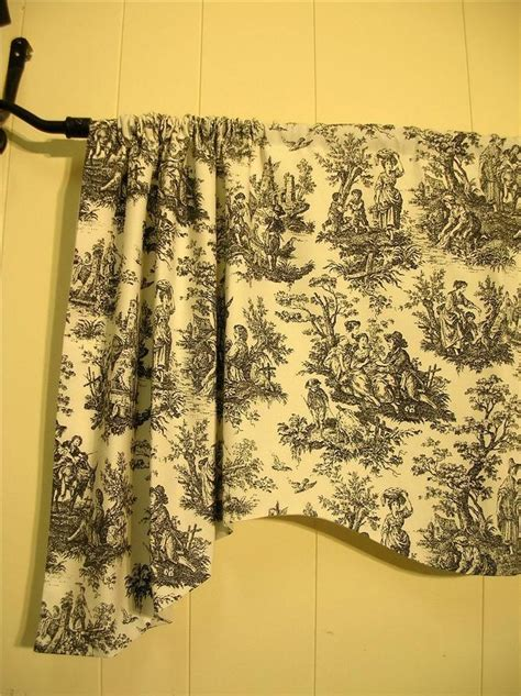 Waverly Toile Curtains Waverly Country Rustic Toile Black White Handmade 100 Cotton Valances Ebay