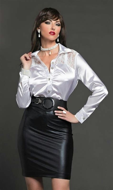 satin blouses black leather skirts and satin on