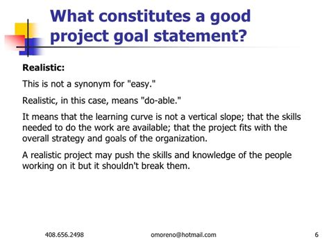project objective statement exle what constitutes a project goal statement
