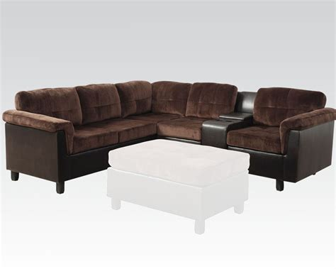 acme sectional acme furniture reversible sectional sofa in chocolate
