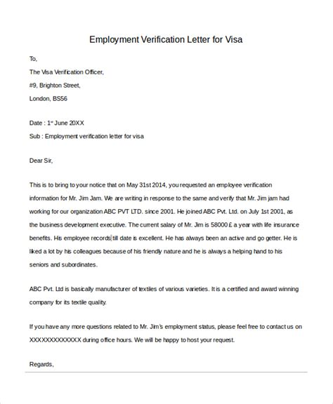 Visa Letter Of Employment Sle Letter Of Employment Verification 10 Exles In Pdf Word
