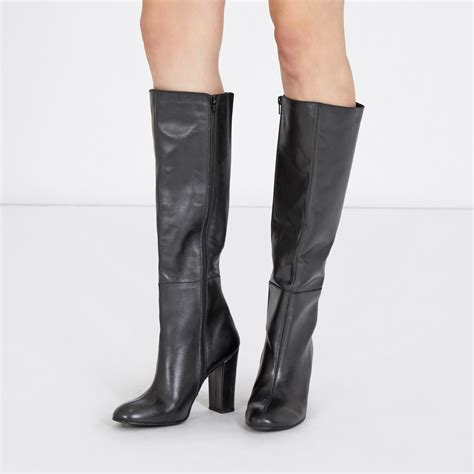 leather knee high boots warehouse