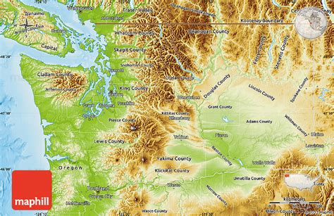 a physical map of washington physical map of washington