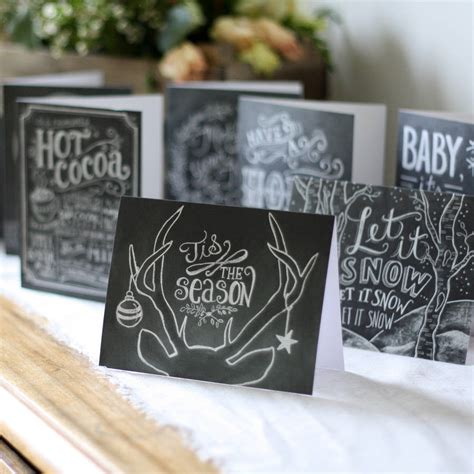 chalkboard calligraphy christmas cards set     wedding   dreams