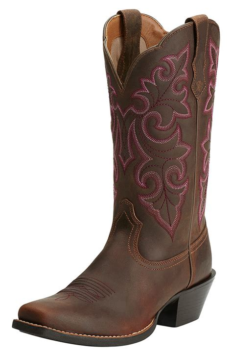 ariat womens up square toe cowboy boots powder brown