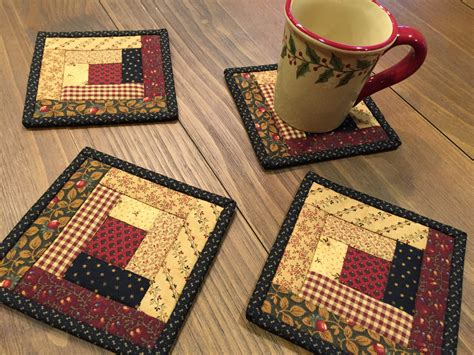 quilted rugs log cabin coasters quilted mug rugs handmade item 1824