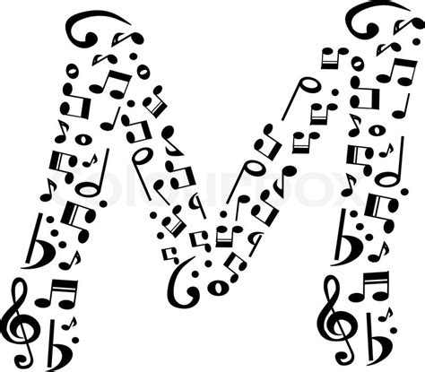 note musicali in lettere abstract vector alphabet m made from notes