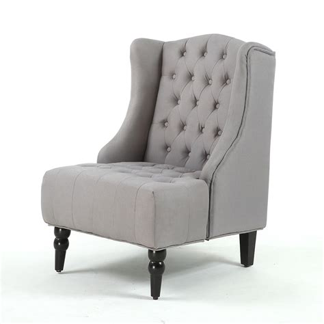 modern wingback accent chair diamond tufted linen nailhead gray beige ebay