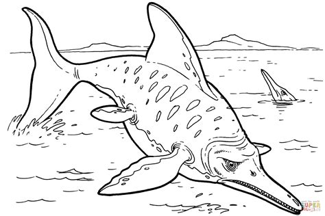 sea dinosaur coloring page dibujo de iquiosaurio para colorear dibujos para