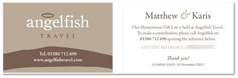 Honeymoon Gift Cards - angelfish travel honeymoon gift list service