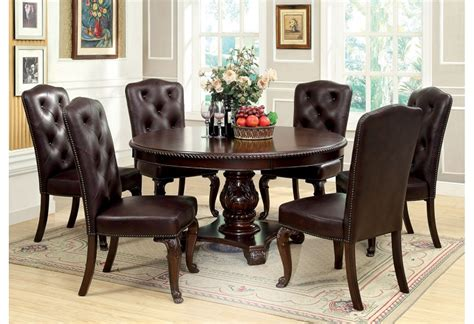charity 7pc dining room set in cherry table chairs formal bellagio round brown cherry finish formal 7 piece dining